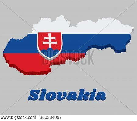 3d Map Outline And Flag Of Slovakia, A Horizontal Tricolor Of White Blue And Red; Charged With A Shi