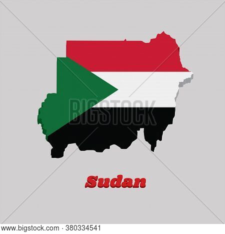 3d Map Outline And Flag Of Sudan, A Horizontal Tricolor Of Red, White, And Black; With A Green Trian