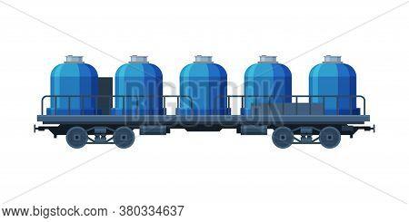 Modern Railway Cisterns, Freight Train, Side View, Railroad Transportation Flat Vector Illustration