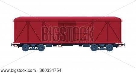 Red Cargo Train Wagon, Railroad Transportation Flat Vector Illustration On White Background