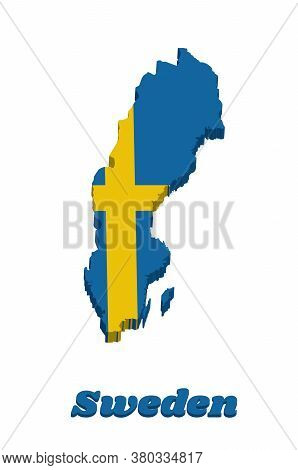 3d Map Outline And Flag Of Sweden, It Is Consists Of A Yellow Or Gold Nordic Cross On A Field Of Blu