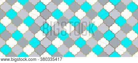 Moroccan Seamless Design Traditional Ramadan Golden Mosque Motif. Moroccan Seamless Mosaic Pattern.