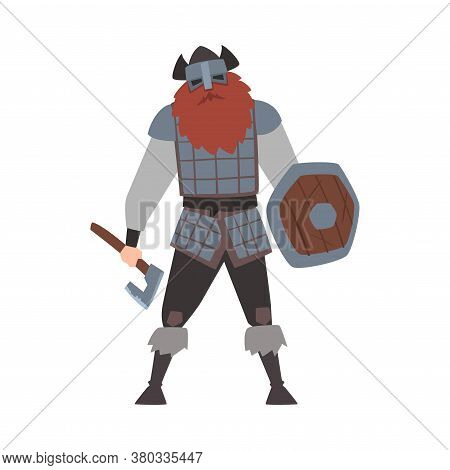 Strong Muscular Viking, Male Scandinavian Warrior Character In Armor And Helmet With Weapon Vector I