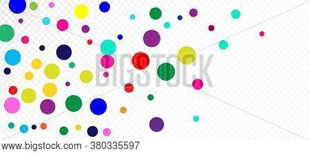 Rainbow Confetti Festive Vector Wallpaper. Holiday Celebration Falling Down Shiny Sequins Frame. Chr