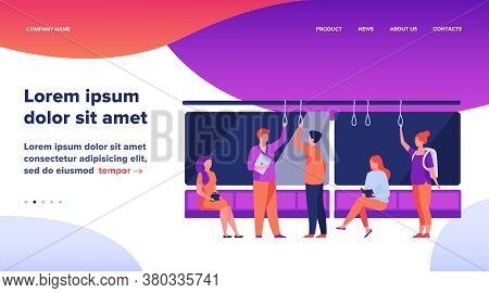 Passengers In Metro Wagon Flat Vector Illustration. People Travelling By Underground. Man And Woman