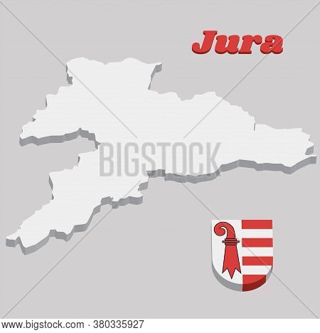 3d Map Outline And Coat Of Arms Of Jura, The Canton Of Switzerland With Name Text Jura.