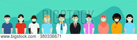 Illustration Of People Wearing Medical Masks In Anticipation Of Contracting A Disease, Flat Illustra