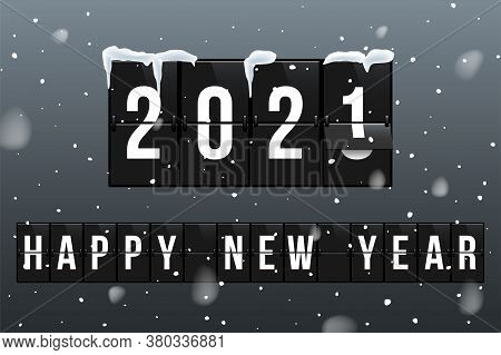 New Year 2021 Vector Greeting Card Template. Changing 2020 To 2021 In Flipboard Calendar Flat Illust