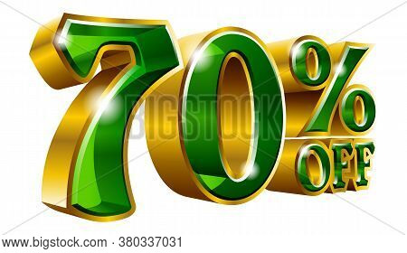 70% Off - Seventy Percent Off Discount Gold And Green Sign. Vector Illustration. Special Offer 70 %