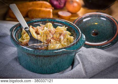Pasta With Sauerkraut And Sausage. Selective Focus.