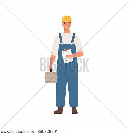Builder Man Or Engineer Standing With Toolkit In Professional Uniform, Helmet And Dungarees. Repair