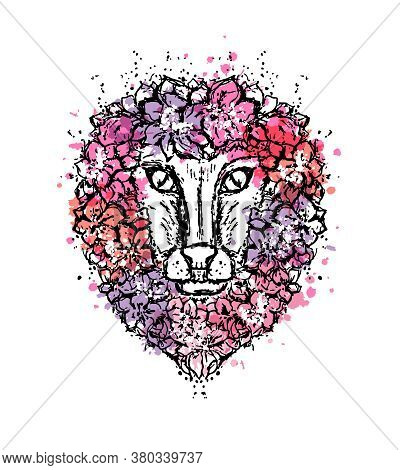 Lion With Floral Mane. Artistic Vector Illustration In Sketch Style With Paint Splash Elements..