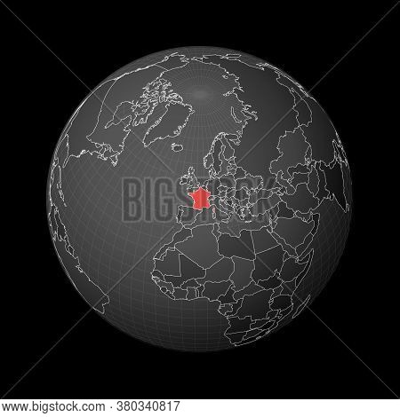 Dark Globe Centered To France. Country Highlighted With Red Color On World Map. Satellite World Proj