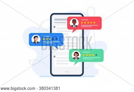 Feedback Customers Review On A Phone Screen. People Evaluating Product, Service. Website Rating Feed