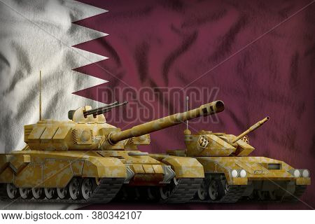 Tanks With Orange Camouflage On The Qatar Flag Background. Qatar Tank Forces Concept. 3d Illustratio