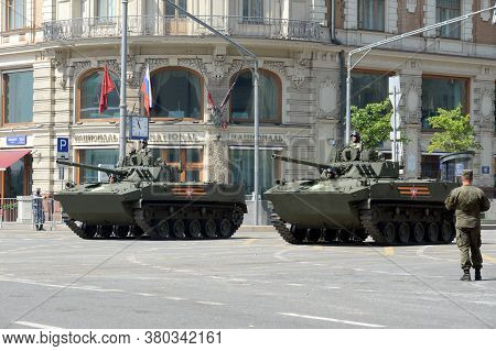 Moscow, Russia - June 20, 2020:russian Combat Tracked Floating Vehicle Bmd-4, Designed To Transport