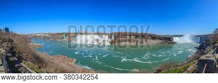 Panorama Picture Of Niagara Falls In Summer