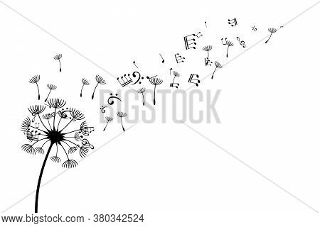 Dandelion With Flying Notes And Seeds. Vector Isolated Decoration Element From Scattered Silhouettes