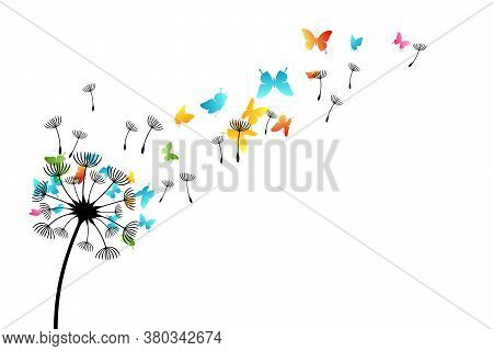 Dandelion With Flying Color Butterflies And Seeds. Vector Isolated Decoration Element From Scattered