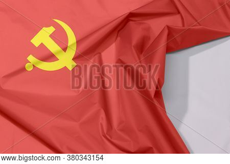 Fabric Chinese Communist Party Flag Crepe And Crease With White Space, Golden Hammer And Sickle On R