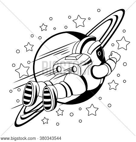 Contour Illustration With An Astronaut And The Planet Saturn On A White Background.