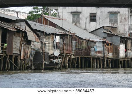Riverfront housing on the Mekong River