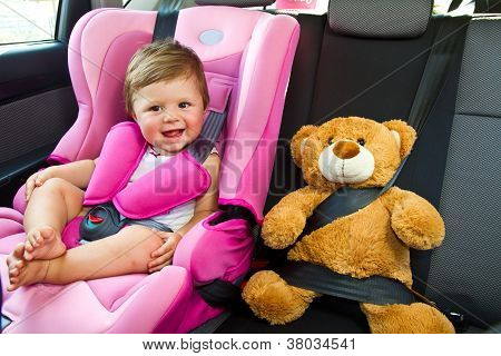 Baby Girl Smile In Car