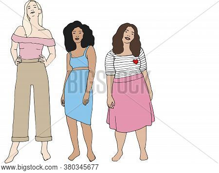 Illustration Of A Group Of Women With Different Body Shapes.