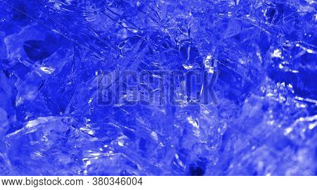 Isolated Macro Abstract Of The Surface Of A Clear Quartz Rock Filtered To Appear As A Frozen Piece O