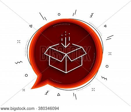Get Box Line Icon. Chat Bubble With Shadow. Open Delivery Parcel Sign. Cargo Package Symbol. Thin Li