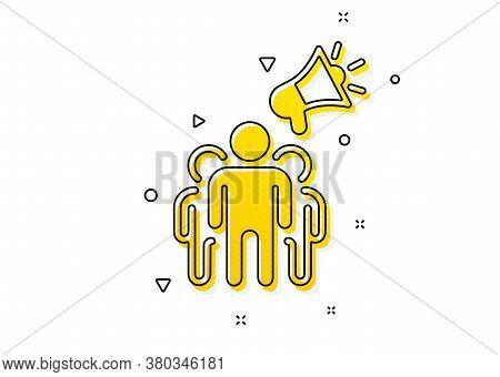 Holding Megaphone Sign. Brand Ambassador Icon. Advertisement Device Symbol. Yellow Circles Pattern.