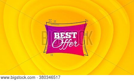 Best Offer Badge. Geometric Plastic Design Banner. Discount Banner Shape. Sale Coupon Bubble Icon. O
