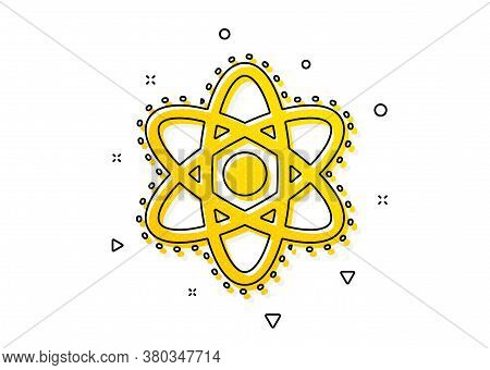 Laboratory Molecule Sign. Chemistry Atom Icon. Analysis Symbol. Yellow Circles Pattern. Classic Chem