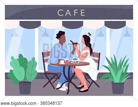 Marriage Proposal Flat Color Vector Illustration. Romantic Dinner Date. Man Propose To Woman With Di