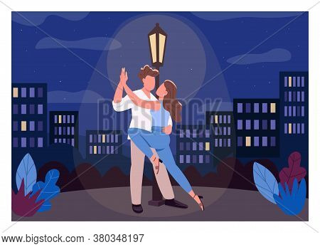 Romantic Night Flat Color Vector Illustration. Man And Woman Dance Passionately. Boyfriend And Girlf