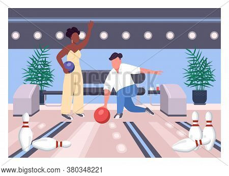 Bowling Date Flat Color Vector Illustration. Friends Play Game Together. Weekend Fun Pastime For Man