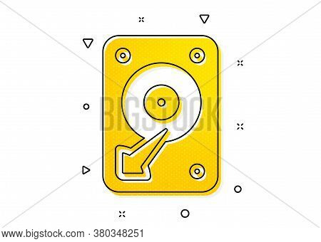 Hard Disk Storage Sign. Hdd Icon. Hard Drive Memory Symbol. Yellow Circles Pattern. Classic Hdd Icon