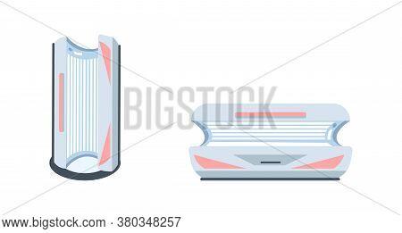 Solarium Machine Flat Color Vector Objects Set. Indoor Tanning. Sunbed. Spa Salon Equipment For Proc