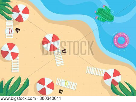 Seaside Flat Color Vector Illustration. Seaside Resort. Beach Vacations. Holiday By The Sea. Summert