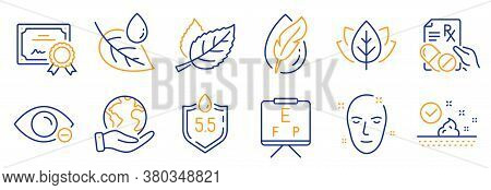 Set Of Healthcare Icons, Such As Health Skin, Leaf. Certificate, Save Planet. Organic Tested, Skin C