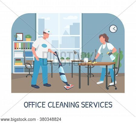 Office Cleaning Service Banner Flat Vector Template. Commercial Cleanup Brochure, Booklet One Page C