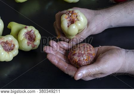 Man Is Cooking Bell Peppers Stuffed With Meat. Hand Holds Stuffing For Stuffing And Bell Pepper. The
