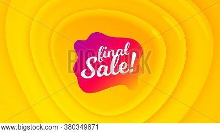 Final Sale Badge. Geometric Plastic Design Banner. Discount Banner Shape. Coupon Bubble Icon. Orange