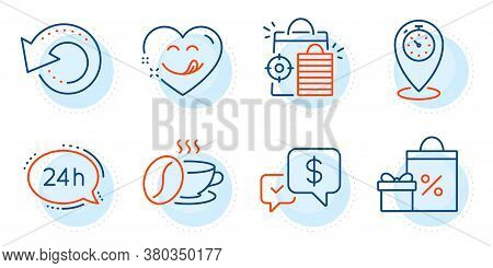 Shopping, 24h Service And Timer Signs. Recovery Data, Coffee Cup And Payment Received Line Icons Set