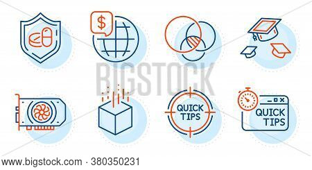 Quick Tips, Tips And Gpu Signs. Throw Hats, Medical Tablet And World Money Line Icons Set. Augmented