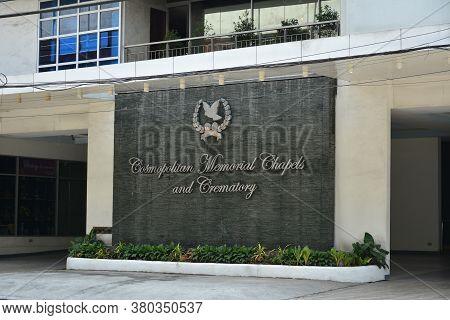 Quezon City, Ph - April 20 - Cosmopolitan Memorial Chapels And Crematory Facade At G Araneta Avenue