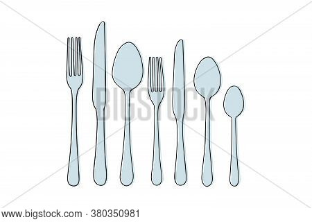 Set Of Cutlery Knife, Fork, Spoon Vector Doodle Icons. Isolated On White Background. Design For Menu