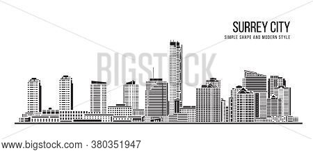 Cityscape Building Abstract Simple Shape And Modern Style Art Vector Design - Surrey City