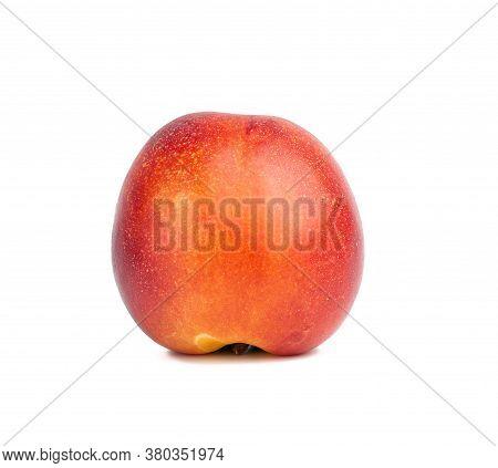 Ripe Round Ripe Nectarine Isolated On White Background, Tasty And Healthy Fruit, Close Up
