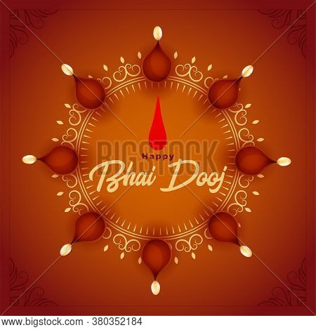Happy Bhai Dooj Background With Diya Decoration